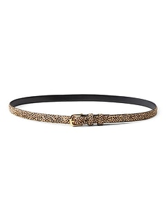 Cheetah Print Haircalf Leather Small Trouser Belt