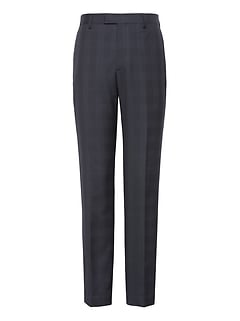 Slim Plaid Italian Wool Suit Trouser