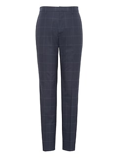 Athletic Tapered Non-Iron Stretch Cotton Plaid Pant