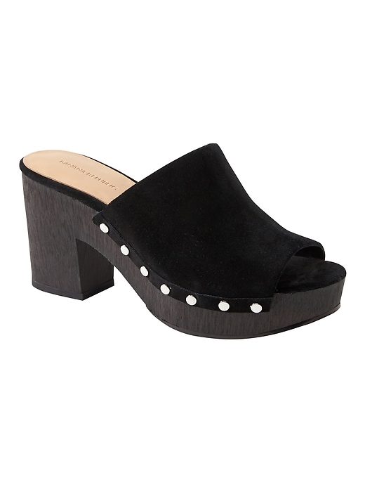 Banana Republic Womens Clog Sandal Black Suede Size 12