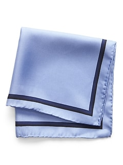 Solid Border Silk Pocket Square