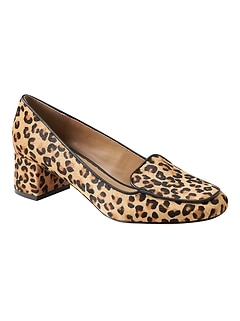 Low Block-Heel Leopard Print Loafer