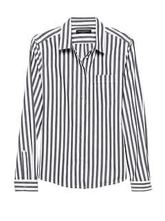 Petite Quinn Boy-Fit Stripe Super-Stretch Shirt