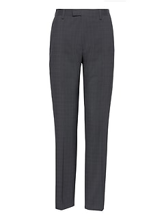 Slim Plaid Performance Stretch Wool Dress Pant