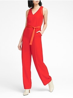 Mixed Media V-Neck Jumpsuit