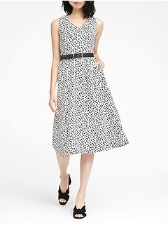 Print Midi Fit-and-Flare Dress