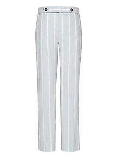 Petite Avery Straight-Fit Stretch Linen-Cotton Stripe Ankle Pant