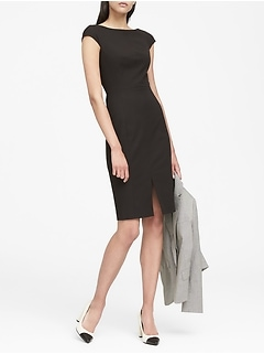 Bi-Stretch V-Back Sheath Dress