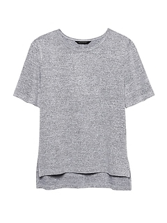 Petite Luxespun Boyfriend Tee with Side Slits
