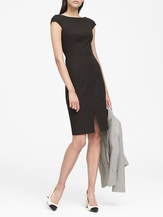 Petite Bi Stretch V Back Sheath Dress by Banana Repbulic
