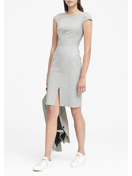 Petite Heathered Bi Stretch V Back Sheath Dress by Banana Repbulic
