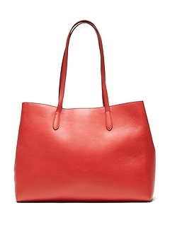 Italian Leather East-West Tote