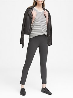 Devon Legging-Fit Machine-Washable Heathered Bi-Stretch Ankle Pant