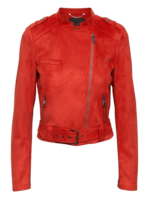 Banana Republic Womens Petite Vegan Stretch-Suede Moto Jacket Geo Red Size M