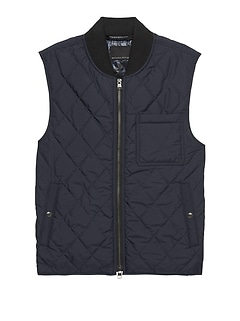 Water-Resistant Quilted Vest with Chest Pocket
