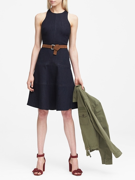 Petite Paneled Denim Fit And Flare Dress by Banana Repbulic