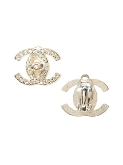 LUXE FINDS &#124 Chanel Silver Crystal Turnlock Clip-On Earring
