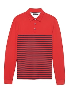 Don't-Sweat-It Long-Sleeve Stripe Polo