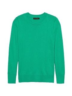 Petite Italian Merino-Blend Crew-Neck Sweater