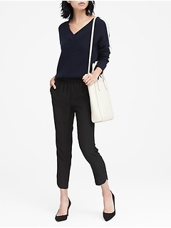Hayden Tapered-Fit Pull-On Dolphin-Hem Ankle Pant