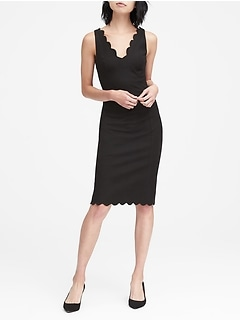 Petite Scalloped Bi-Stretch Sheath Dress