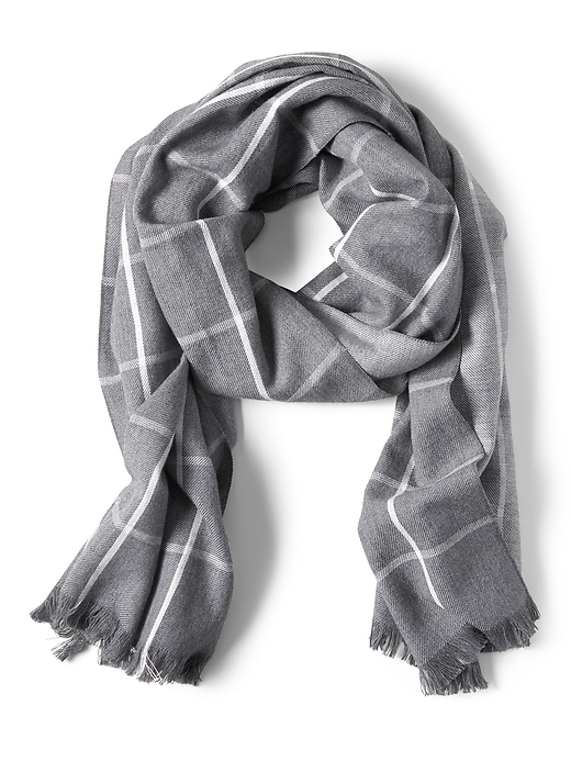 Windowpane Cotton Wool Scarf by Banana Repbulic