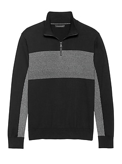 SUPIMA® Cotton Blocked Half-Zip Sweater