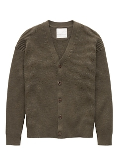 Heritage Cotton Ribbed Cardigan Sweater