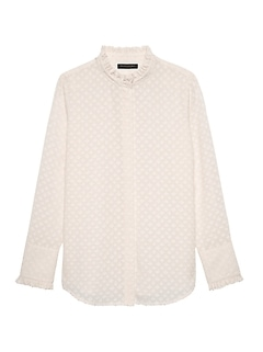 Petite Dillon Classic-Fit Semi-Sheer Ruffle Shirt