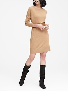 Petite Wool-Cashmere Blend Boat-Neck Sweater Dress