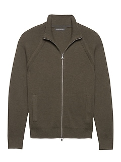 SUPIMA® Cotton Ribbed Full-Zip Sweater