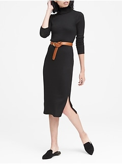 Luxespun Ribbed Turtleneck Dress