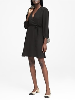 Petite Solid Wrap Dress