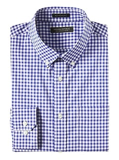 NEW Slim-Fit Tech-Stretch Cotton Gingham Shirt
