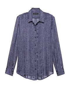 Petite Dillon Classic-Fit Herringbone Shirt