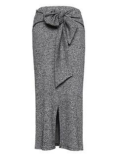 Ribbed Luxespun Tie-Waist Midi Skirt