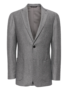 Slim Herringbone Italian Flannel Suit Jacket
