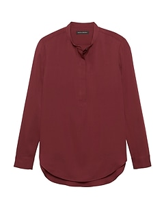 Parker Tunic-Fit Washable Stretch Silk Popover Shirt