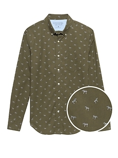 Grant Slim-Fit Luxe Poplin Zebra Print Shirt
