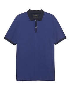 Luxury-Touch Jacquard Tipped Polo
