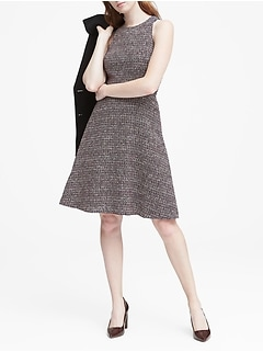 Tweed Racer-Neck Fit-and-Flare Dress