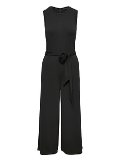 Soft Ponte Cropped Wide-Leg Jumpsuit