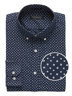 NEW Slim-Fit Tech-Stretch Cotton Print Shirt