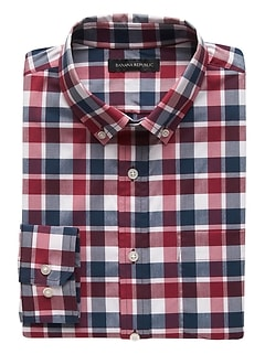 NEW Slim-Fit Tech-Stretch Cotton Plaid Shirt
