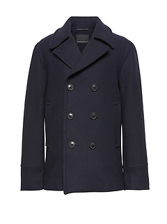 Italian Melton Wool Blend Peacoat