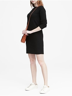 Wool-Cashmere Blend Ribbed Sweater Dress