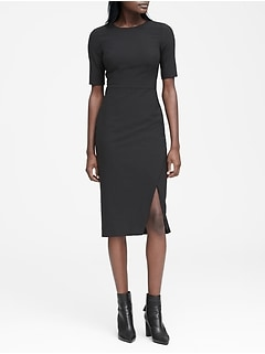 Lightweight Wool Short-Sleeve Sheath Dress