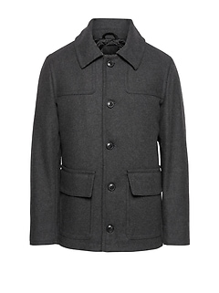 Italian Melton Wool Blend Two-Pocket Coat