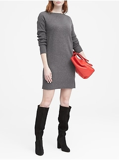 Wool-Cashmere Blend Boat-Neck Sweater Dress