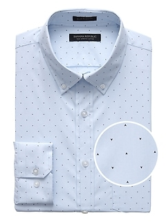 NEW Slim-Fit Tech-Stretch Cotton Arrow Print Shirt